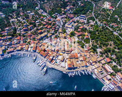 Gaios, capital city of Paxos Island near Corfu, aerial view. Grand canal, old harbor visible from above. Greece, - Stock Photo