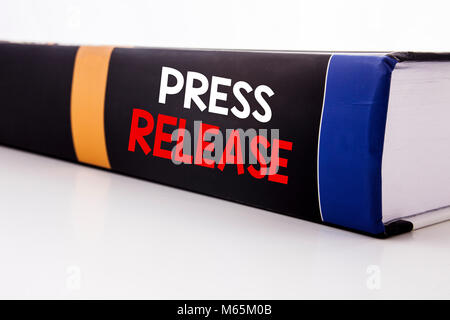 Conceptual hand writing text caption inspiration showing Press Release. Business concept for Statement Announcement - Stock Photo