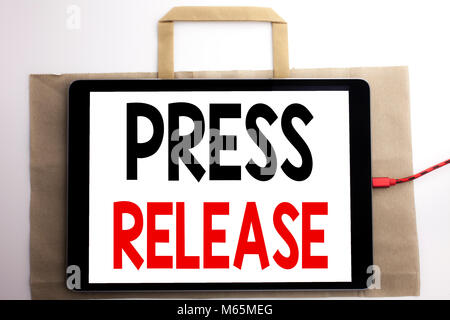 Handwriting Announcement text showing Press Release. Business concept for Statement Announcement Message Written - Stock Photo