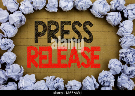 Press Release. Business concept for Statement Announcement Message written on vintage background with space on old - Stock Photo
