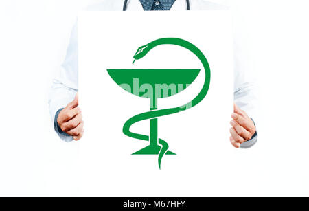 Doctor with Caduceus medical symbol vector. Medical Snake with a cup. - Stock Photo