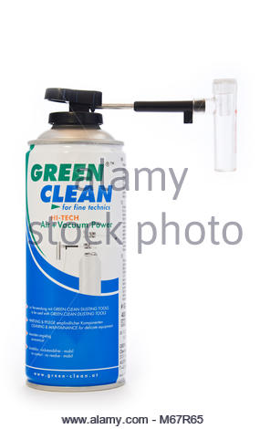 Tin of Green Clean compressed air full frame sensor cleaner with vacuum attachment, isolated on white, with copy - Stock Photo