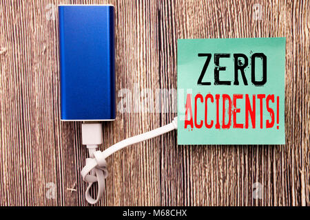 Handwritten text caption showing Zero Accidents. Business concept writing for Safety At Work Hazard written on sticky - Stock Photo