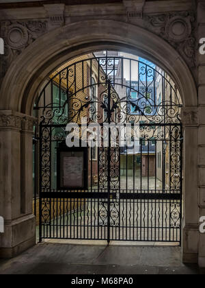 LONDON, UK:  Entrance gates to the Bevis Marks Synagogue - Stock Photo