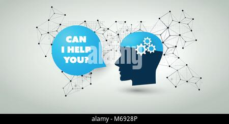Machine Learning, Artificial Intelligence, Cloud Computing, Automated Support Assistance and Networks Design Concept - Stock Photo