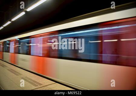 moving subway train metropolitan in Amsterdam, Netherlands - Stock Photo