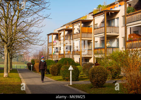 Residential apartment building. Troinex, Genève Suisse. Geneva. Switzerland Europe - Stock Photo