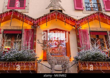 Christmas decoration of a restaurant, Chamonix Mont Blanc, Auvergne-Rhône-Alpes, department of Upper Savoy. France - Stock Photo