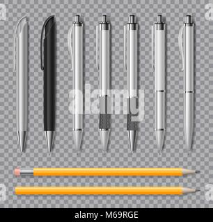 Set of Realistic office pens and pencil isolated on transparent background. Office stationery Blank white and black - Stock Photo