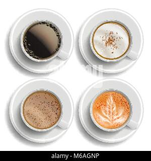 Coffee Cups Set Vector. Top View. Different Types. Coffee Menu. Hot Latte, Cappuchino, Americano, Raf Coffee. Fast - Stock Photo