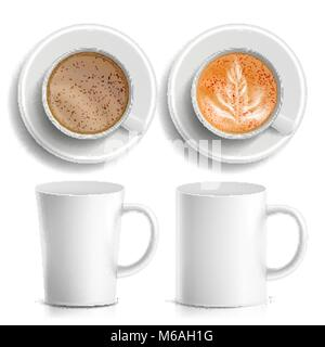 Coffee Cups Vector. Top, Side View. Different Types. Coffee Menu. Hot Coffee. Fast Food Cup Beverage. Breakfast - Stock Photo