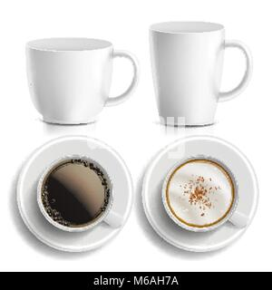 Coffee Cups Vector. Top, Side View. Different Types. Aromatic Classic Hot Coffee. Fast Food Cup Beverage. White - Stock Photo