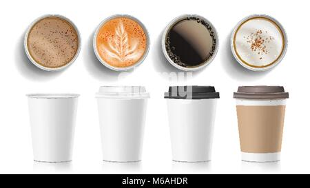 Coffee Cups Top View Vector. Plastic, Paper White Empty Fast Food Take Out Coffee Menu Mugs. Various Ocher Paper - Stock Photo