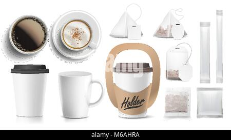 Coffee Packaging Design Vector. Cups Mock Up. White Coffee Mug. Ceramic And Paper, Plastic Cup. Top, Side View. - Stock Photo