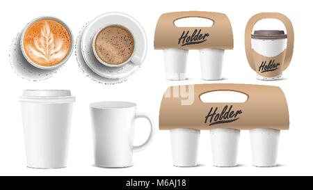 Coffee Packaging Vector. Cups Mock Up. Ceramic And Paper, Plastic Cup. Top, Side View. Cups Holder For Carrying, - Stock Photo