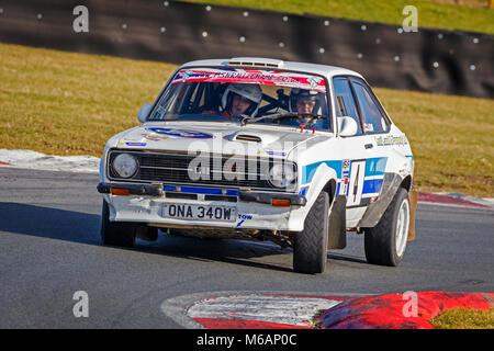 Ian Woodhouse and Jason Leaf in their Ford Escort Mk2 during the 2018 Motorsport News Snetterton Stage Rally, Norfolk, - Stock Photo