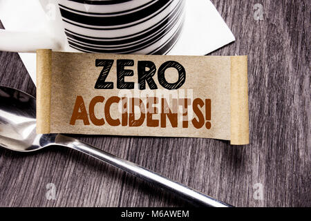 Handwriting Announcement text showing Zero Accidents. Business concept for Safety At Work Hazard written on sticky - Stock Photo