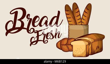 bread fresh baguette sliced toasts banner - Stock Photo