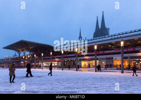 Germany, Cologne, the Breslauer square at the main station, in the background the cathedral, snow, winter.  Deutschland, - Stock Photo
