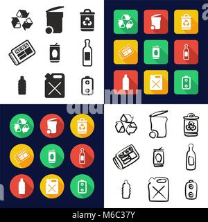 Recycling All in One Icons Black & White Color Flat Design Freehand Set - Stock Photo