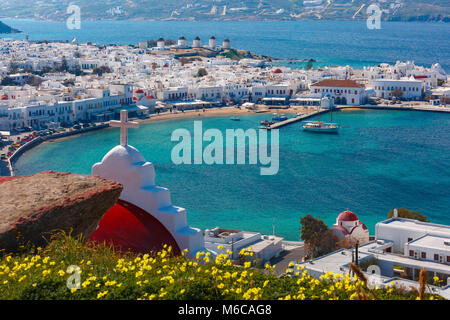 Mykonos City, Chora on island Mykonos, Greece - Stock Photo