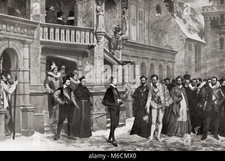 Henry III and the Duke of Guise at The Château de Blois, 1588 before the latter's assassination by Henry's bodyguards. - Stock Photo