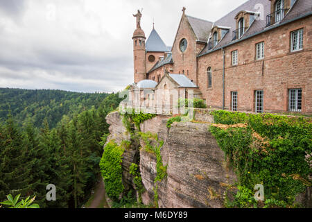 Dramatic view of the Mont Sainte-Odile and Hohenbourg Abbey in Alsace, Grand Est, France - Stock Photo