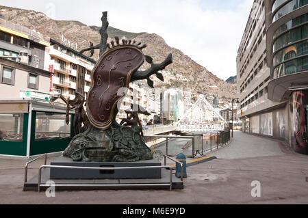 Noblesse du Temps, Salvador Dalí sculpture in Andorra la Vella, Andorra - Stock Photo