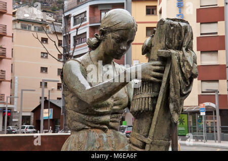 Sculpture by J. Viladomat in front of Sant Pere Màrtir Church in Escaldes-Engordany, Andorra - Stock Photo