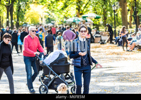 New York City, USA - October 28, 2017: Manhattan NYC Central park with people walking on street alley, in autumn - Stock Photo