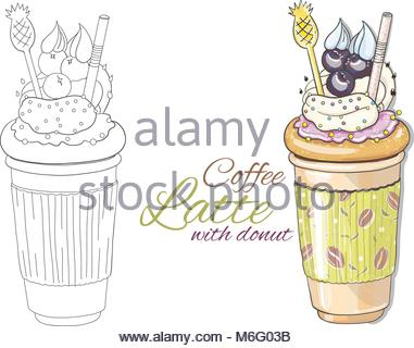Cute hand drawn coffee latte illustration in two version - path and colorful on white background. Latte in paper - Stock Photo