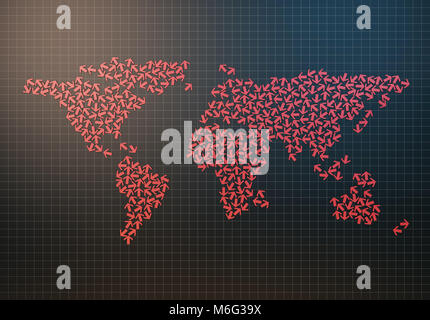 World map composed of arrows, chaotic arrows - Stock Photo