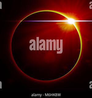 exotic planet surrounded by red light (3d illustration) - Stock Photo