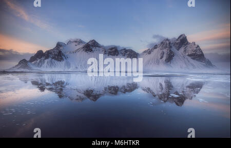 Vestrahorn mountains at Stokksnes beach in Iceland - Stock Photo