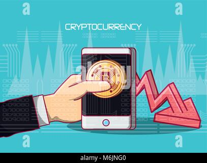 hand holding a smartphone with bitcoin coin on screen and finnacial arrow risign down over blue background, colorful - Stock Photo