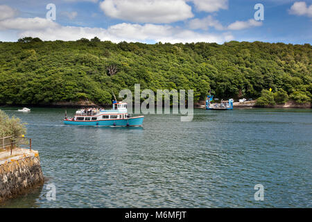 King Harry Ferry; Crossing the River Fal; Cornwall; UK - Stock Photo