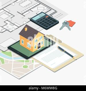 Real estate, loan and home insurance: model house on a table, house plan and home keys - Stock Photo