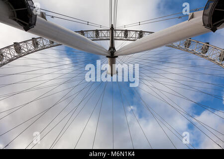 Abstract image of the London Eye in cloudy weather. Westminster, London, UK Friday January 5th 2018 - Stock Photo
