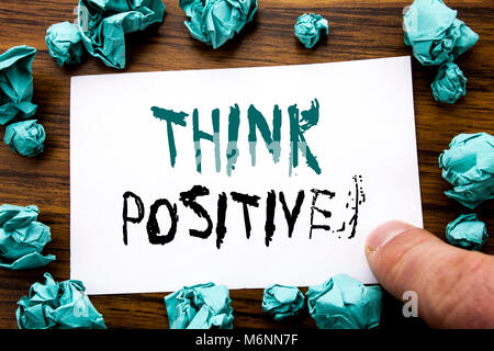 Handwriting Announcement text showing Think Positive. Business concept for Positivity Attitude Written on sticky - Stock Photo