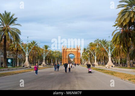 Passeig de Lluis Company, with triumphal arch, Barcelona, Catalonia, Spain - Stock Photo