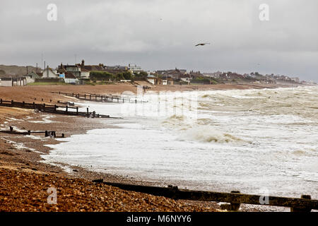 Stormy sea, Norman's Bay, near Bexhill-on-Sea, East Sussex, England, UK. - Stock Photo