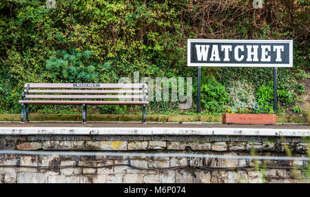 Watchet station platform on the West Somerset Railway on the Somerset coast UK - Stock Photo