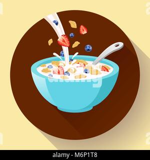 Vector breakfast cereal in bowl filled with milk and berries, flat cereal bowl icon. Breakfast icon. breakfast cereal - Stock Photo
