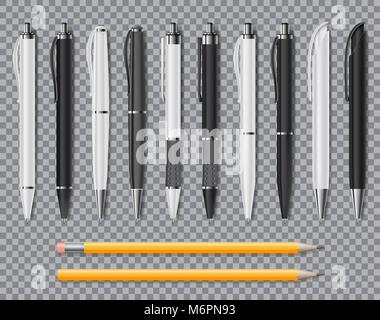 Set of Realistic office Elegant pens and pencil isolated on transparent background. Office Blank white and black - Stock Photo