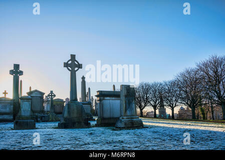 Winter afternoon at the Necropolis cemetary in central Glasgow. - Stock Photo