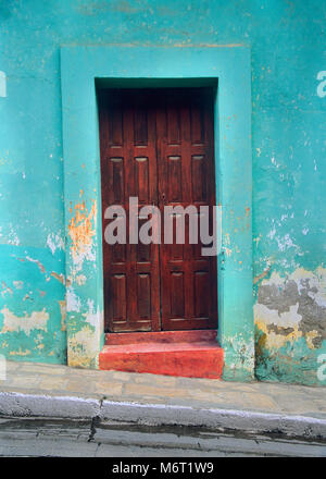 San Cristobol de las Casis is a city in Chiapas, Mexico with colorful doors. - Stock Photo