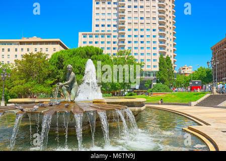 Madrid, Spain - June 05, 2017 : Spain Square (Plaza de Espana)  is a large square, a popular tourist destination - Stock Photo