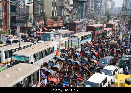 Dhaka March 6, 2018, Numerous vehicles and Rickshaw traffic jam on a street near Purana Paltan in Dhaka. - Stock Photo