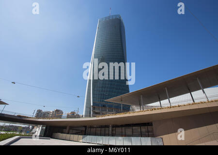 MILAN, ITALY, MARCH 28, 2017 - Hadid tower in  'City Life' complex in 3 Torri Milan, Italy, modern buildings and - Stock Photo