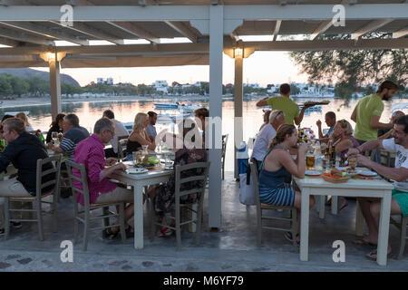 Harbour restaurant in evening, Pollonia, Milos, Cyclades, Aegean Sea, Greek Islands; Greece; Europe - Stock Photo